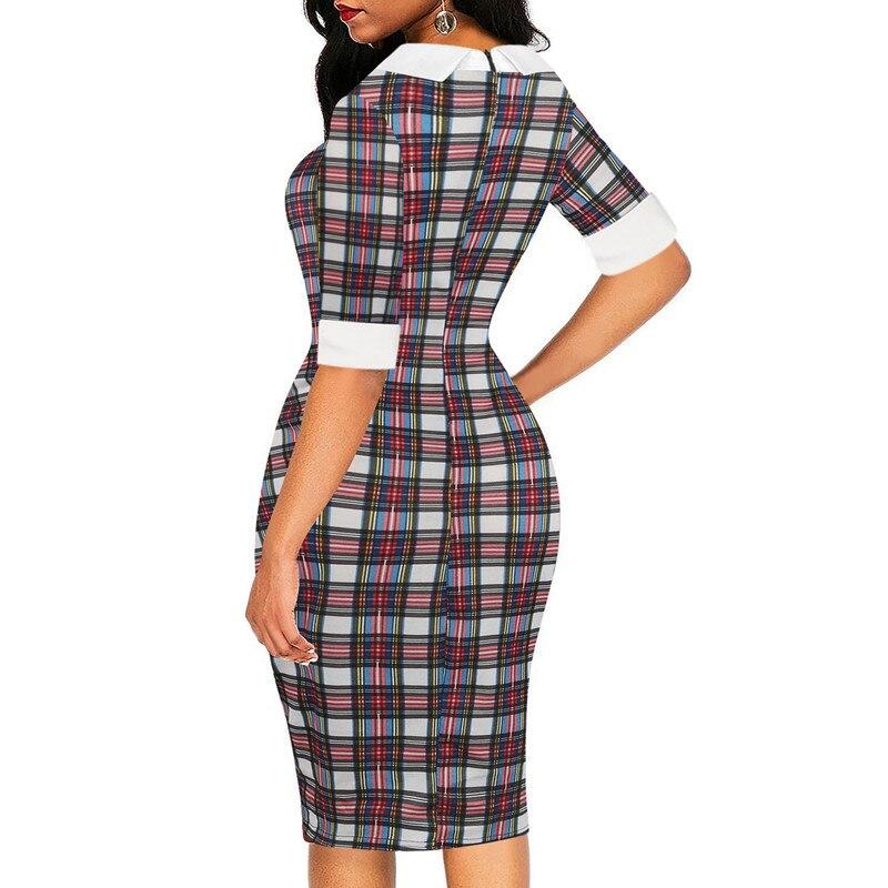 Fmasuth Plaid Dresses for Women Half Sleeve Knee Length Office Business Elegant Office Clothing Dress ox276-1 2