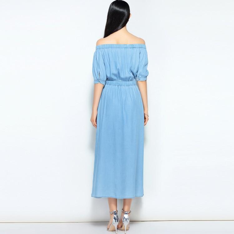 19 new summer casual slim dress women elegant slash neck half sleeve denim dresses vestidos de verano women clothes 19 3