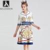 AELESEEN Vintage Knee-Length Dresses Women Summer 19 Casual Wearing V-neck Canary Sword Printed Half Sleeve A-Line Midi Dress