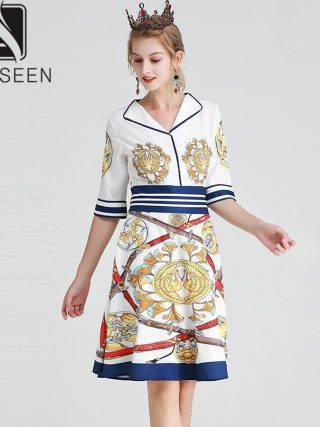 AELESEEN Vintage Knee-Length Dresses Women Summer 19 Casual Wearing V-neck Canary Sword Printed Half Sleeve A-Line Midi Dress