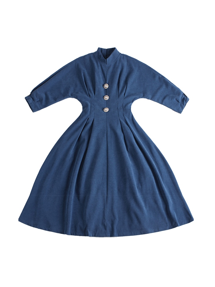 Le Palais Vintage 19 Winter Original Elegant Vintage Deep Morandi Blue Batwing Sleeve Collect Waist Dresses Long Women Dress 2