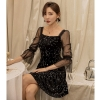 YIGELILA Autumn Black Print Emipe Slim Dress Velet Square Collar Half Sleeves dress Above Knee Mini Flare Sleeves Dress 65138