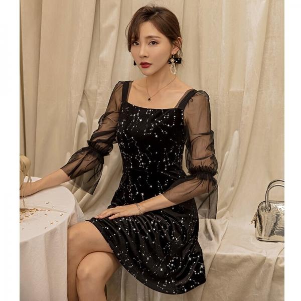 YIGELILA Autumn Black Print Emipe Slim Dress Velet Square Collar Half Sleeves dress Above Knee Mini Flare Sleeves Dress 65138