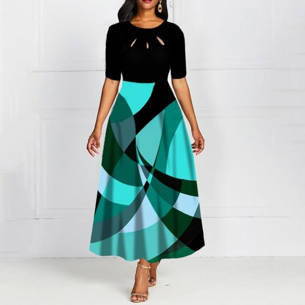 Half Sleeve Round Neck Bowknot Vintage A Line Printing Women Maxi Dress Standard-Waist Dress 19 Autumn Dress