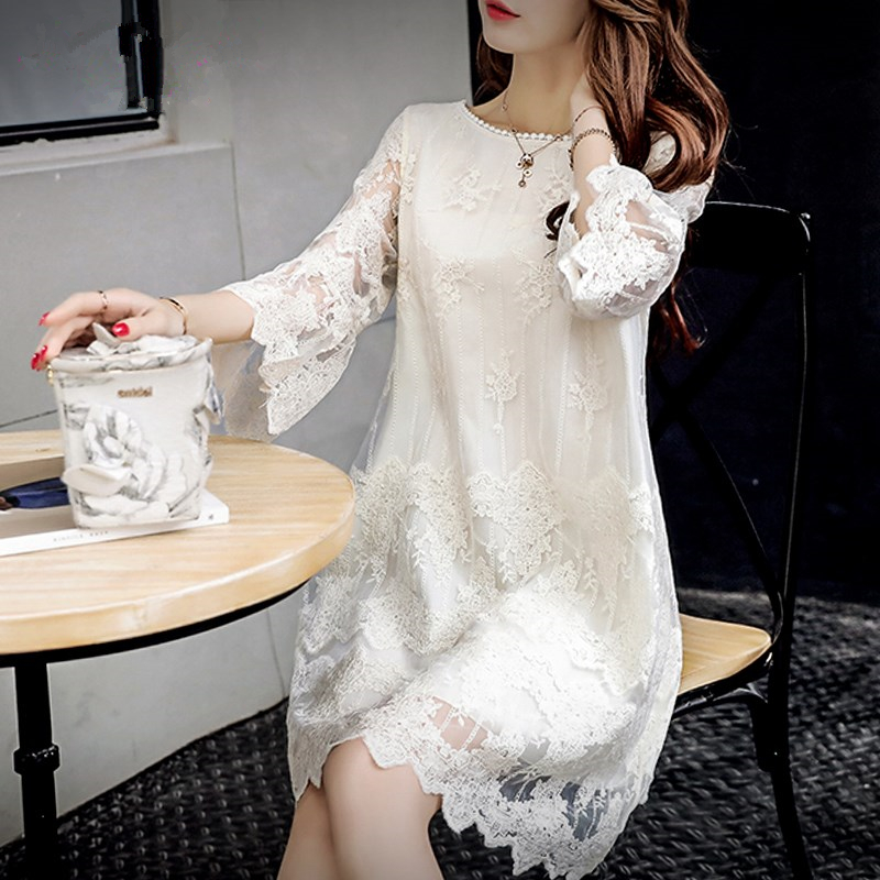 Summer Women Elegant Lace Dresses Casual Half Butterfly Sleeve O-neck Loos Fashionable Big Size A-Line Dress Female Vestidos 1
