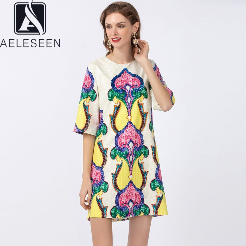 AELESEEN Runway Fashion Loose Dress  Spring Summer Half Sleeve Casual Dress Beading Sequined Flower Print Party Mini Dress 1