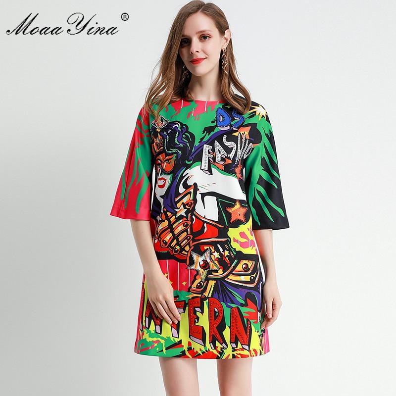 MoaaYina Fashion Designer dress Spring Summer Women's Dress Half sleeve Beading Angel letter Print Dresses 1