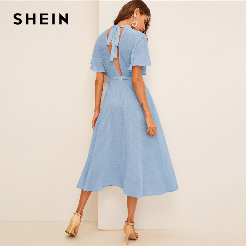 SHEIN Flutter Sleeve Swiss Dot Belted Dress Elegant Pink Pastel Solid Women Dresses Stand Collar A Line Half Sleeve Dresses 3