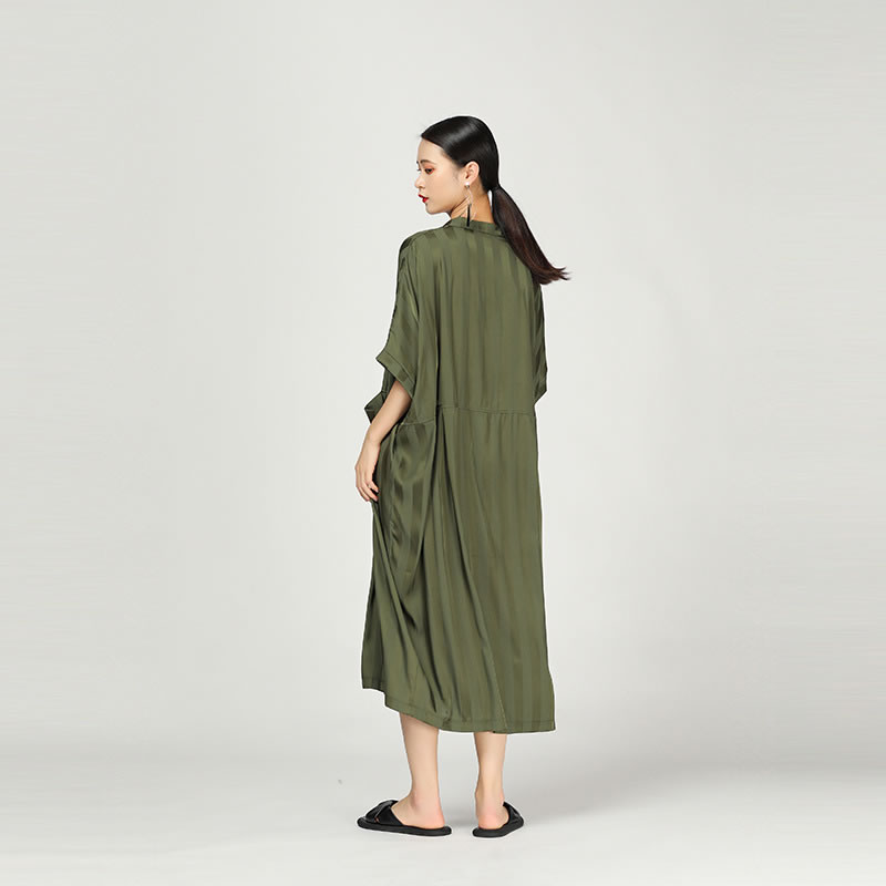 [XITAO] 19 Summer Korea Fashion Stand Collar Half Sleeve Loose Dress Female Patchwork Striped Pocket Mid-calf Dress WBB3369 2