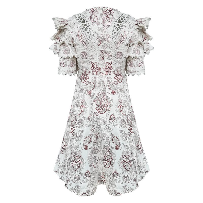 Future Time Autumn Printing White Dress Women 19 Long Beach Dress Bodycon Half Sleeve Round Collar A-Line Sexy Bandage Dress 2