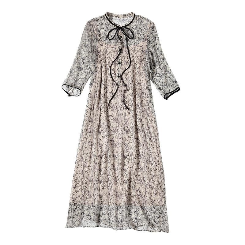 100% Natural Silk Dress Women Summer Fashion Printed O-Neck Half Sleeved Loose A-Line Two Piece Dress Midi M-XXL 3