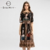 SEQINYY Vintage Dress Summer Spring New Fashion Design Half Sleeve A-line Painting Printed Midi Black Chiffon Dress