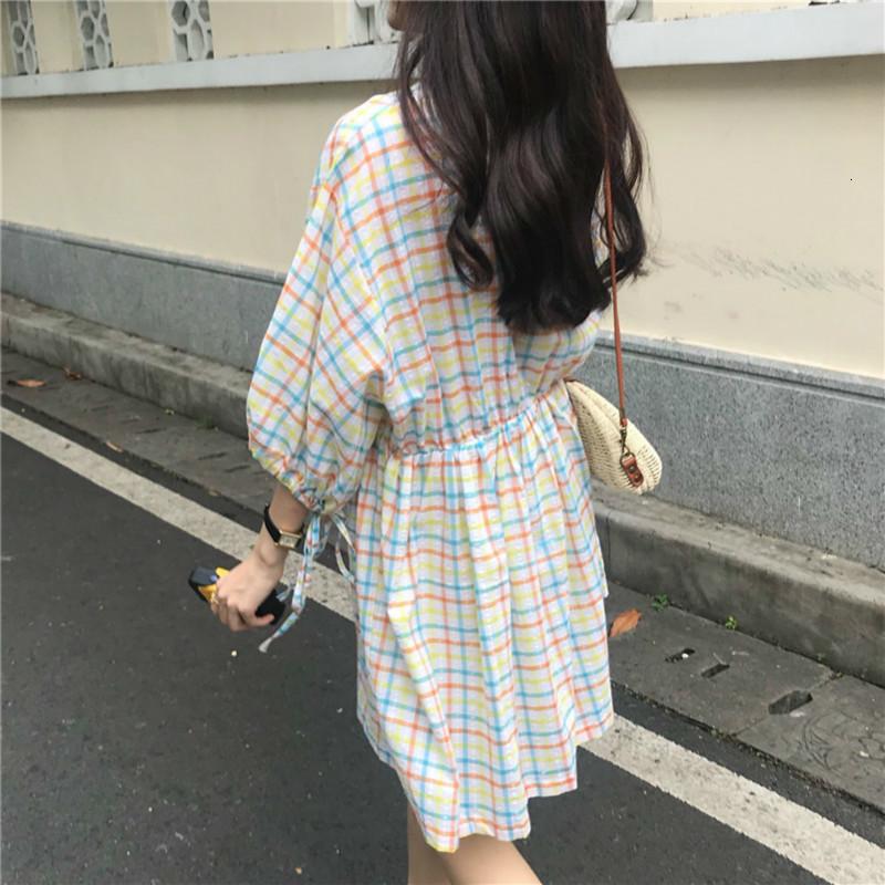 Women Summer Mini Plaid Cotton Dress V-neck Puff Sleeves High Waist Short Vestidos Drawstring Casual Robe Femme Sukienki Jurken