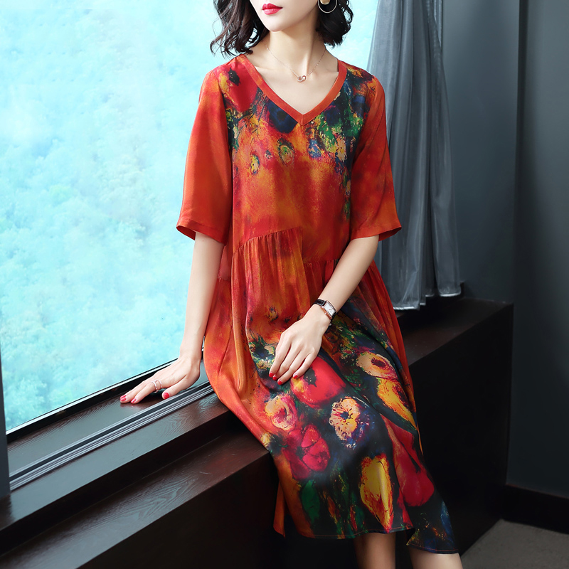 Plus Size Dresses Imitate Real Silk Clothes Loose Women Print Dress New Pattern Half Sleeves Dress Lady Beach Casual Costume