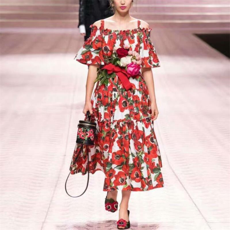 Women Dress 19 High Quality Spring Summer Designer Runway Half Sleeve Printed Spaghetti Strap Casual Dresses NP0093 1