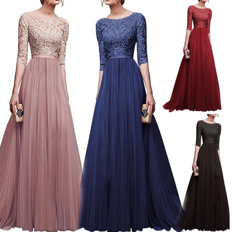 New Elegant Women Dresses Chiffon Female Floor-length Half Sleeve Maxi Dress Women Evening O-Neck Party Dresses 3
