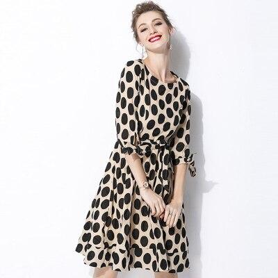 New 18 Women Classic Polka Dot Dresses Plus Size Casual Bowtie Half Sleeve Office Work Dress 3