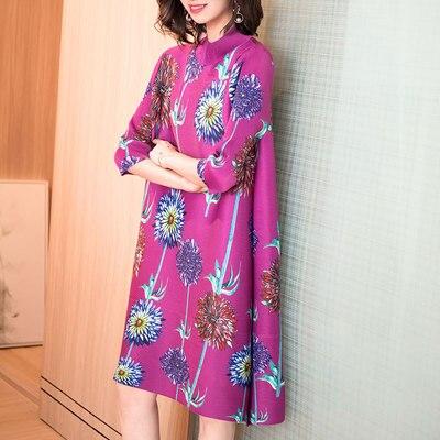 HOT SELLING Miyake fold fashion printing turntleneck half sleeve straight dress IN STOCK 2