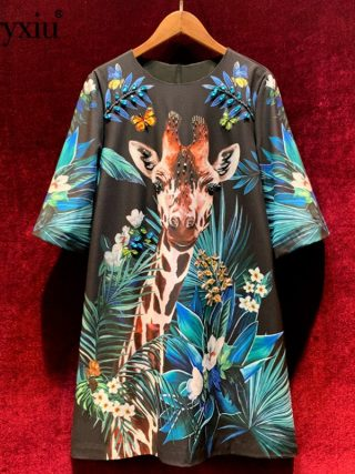 Svoryxiu luxury Runway Autumn Winter Loose Short Dress Women's Half Sleeve Beading Diamond Cartoon Giraffe Print Fashion Dresses