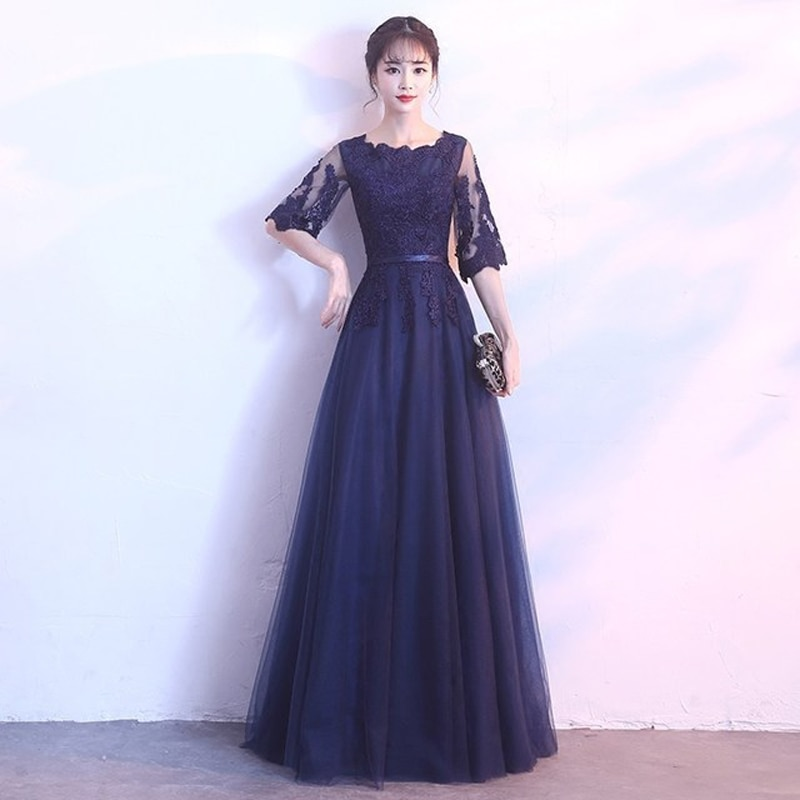 Navyblue Lace Banquet Evening Long Dress 19 Brand New Half Sleeve Dresses Elegant Princess Slim Long Vintage Style 3