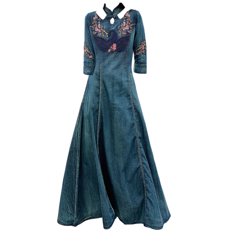 New Spring autumn Women half Sleeve Slim Denim Dress Summer Casual Female Vintage embroidery Dress Ladies Long Dresses