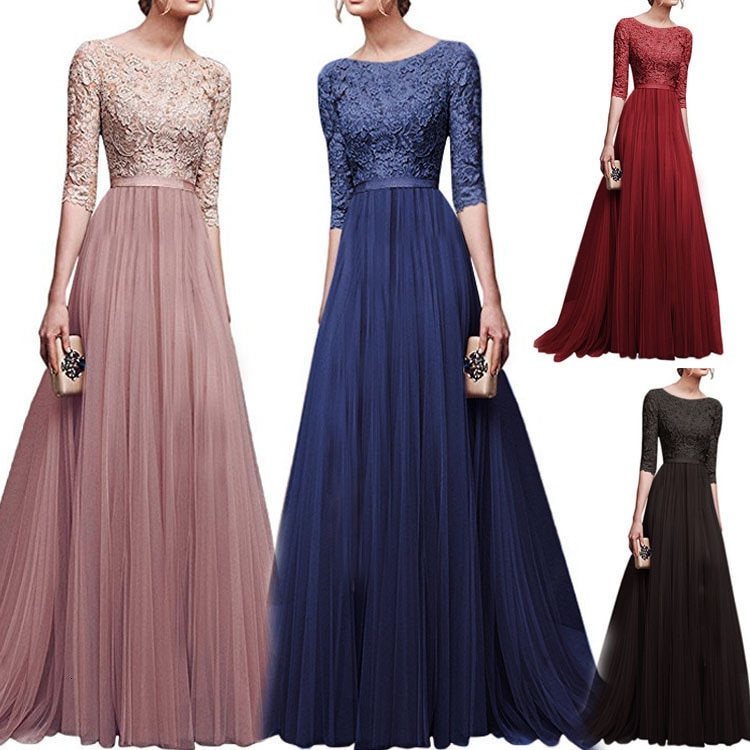 19 Autumn New Elegant Half Sleeve Chiffon Lace Stitching Women Party Prom Evening Much Color Long maxi Dress Female Clothing 1