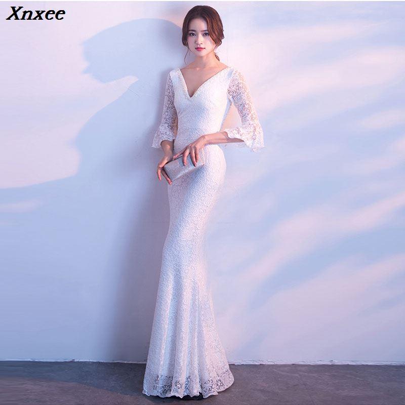 Xnxee Women Elegnat Red Lace Flare Half Sleeve Mermaid Long Prom Sexy Backless Club Party Dress Xnxee 2
