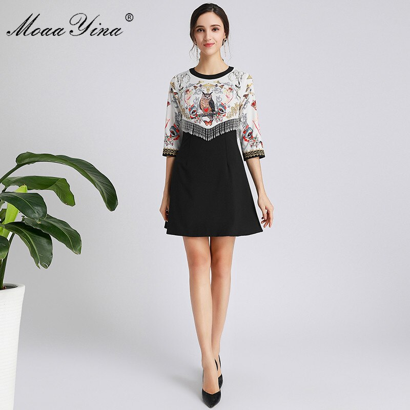 MoaaYina Fashion Designer dress Spring Autumn Women's Dress Half sleeve Crystal Tassel Print Dresses 3