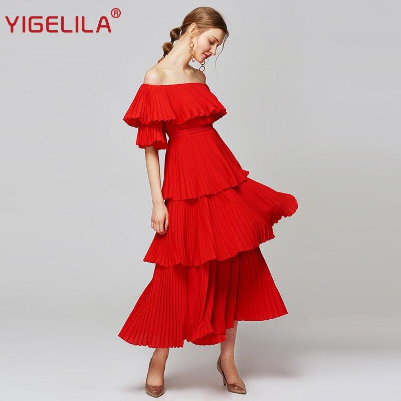 YIGELILA Women Red Pleated Long Dress Fashion Slash Neck Off Shoulder Half Sleeve Empire Slim Draped Party Dress XL Size 63660 1