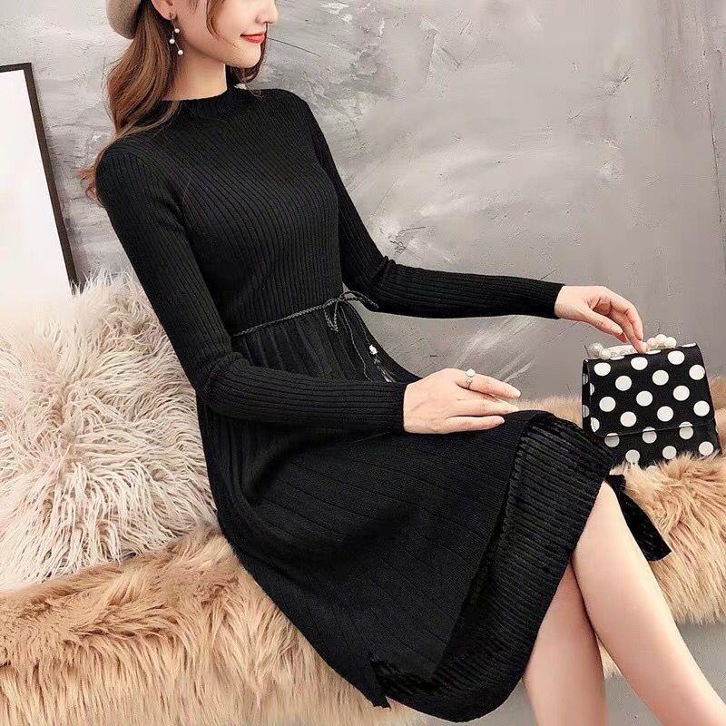Sweater Dresses Women New Autumn Winter Loose Half Turtleneck Pullover Knit Sweater Dress Long Sleeve Slim Ladies Bottom Dress 3