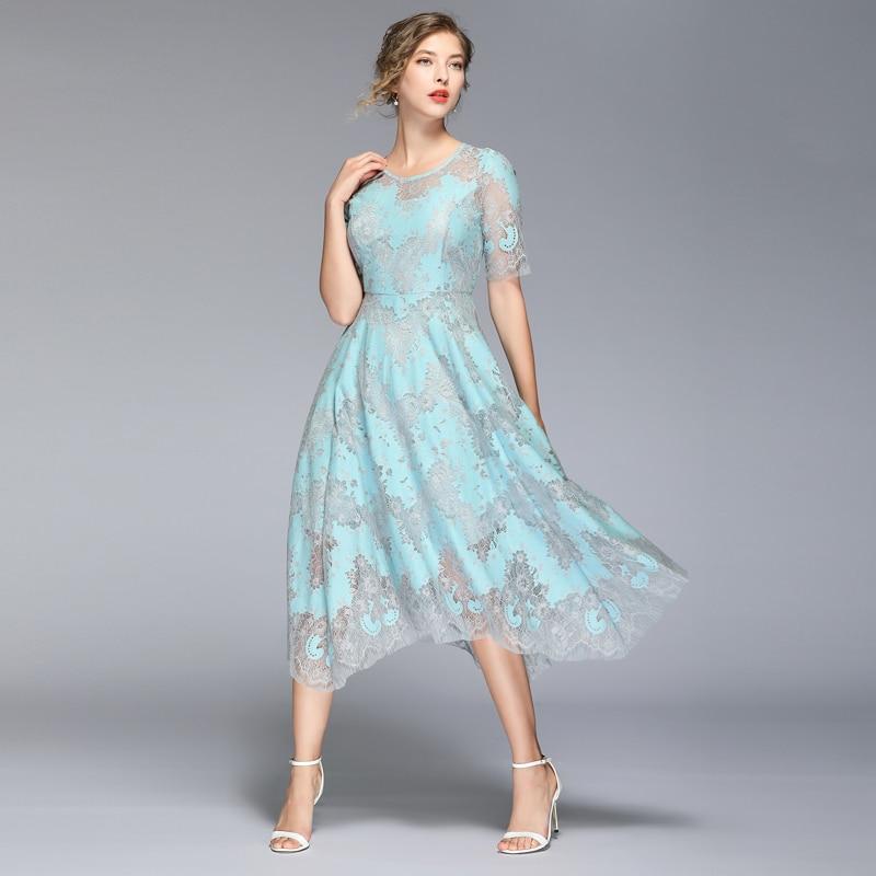 HAMALIEL High Quality Summer Women Lace Dress Vintage Runway Hit Color Half Sleeve Dress Fashion Print Hollow Out Midi Vestidos 2