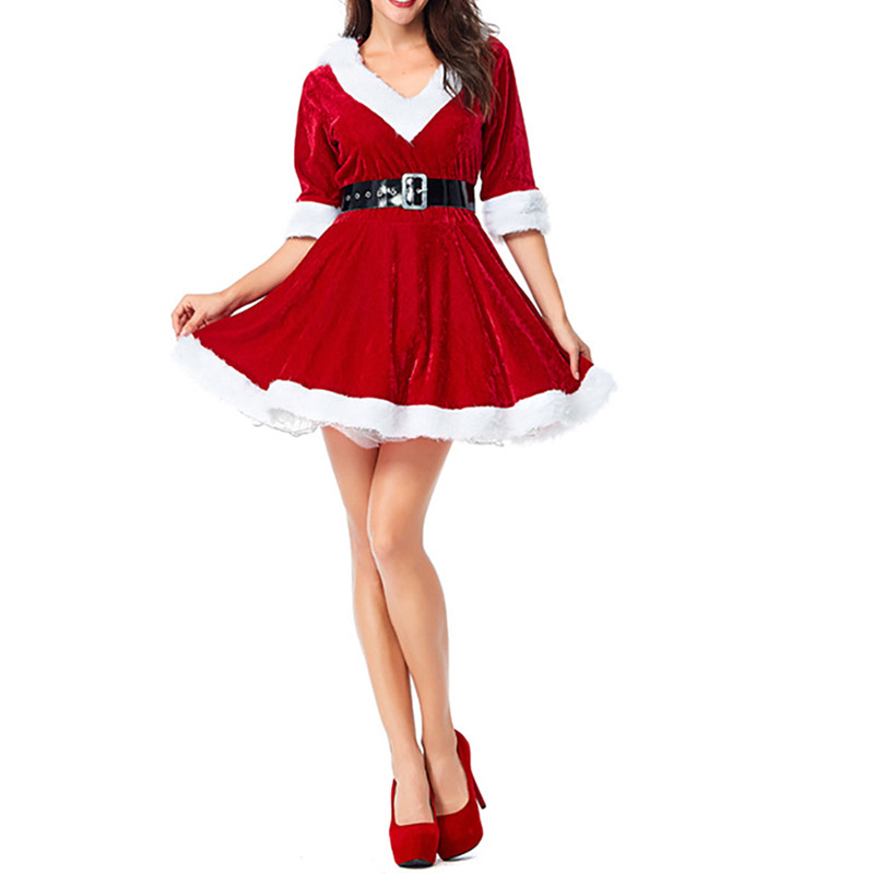 Women Christmas Red Half Sleeve Mother and Daughter Santa Claus Dresses Sexy Plush Hoodie Ball Female Family Dress Costume 2