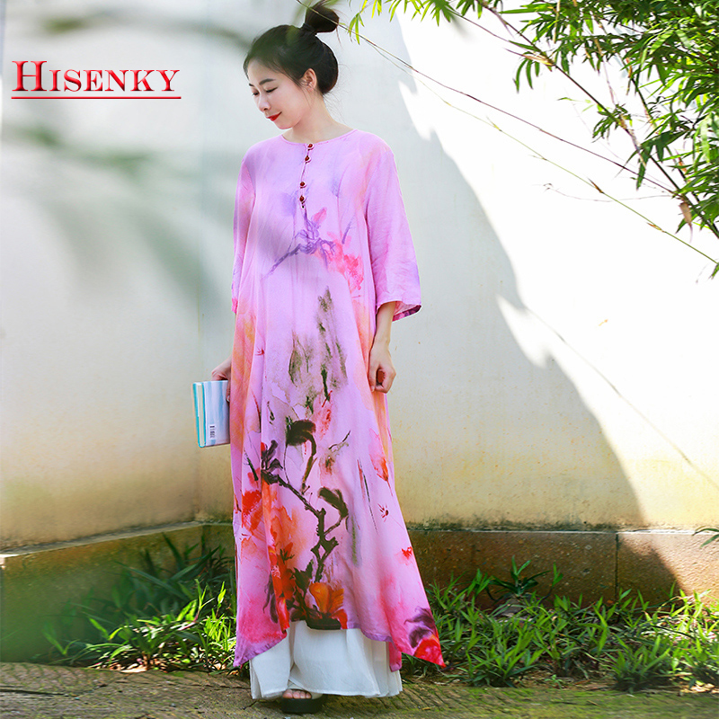 Hisenky 19 Summer Women Dress Chinese Style Cotton Linen Loose Dress Half Sleeves Flower Printed Vintage Long Dress Vestidos