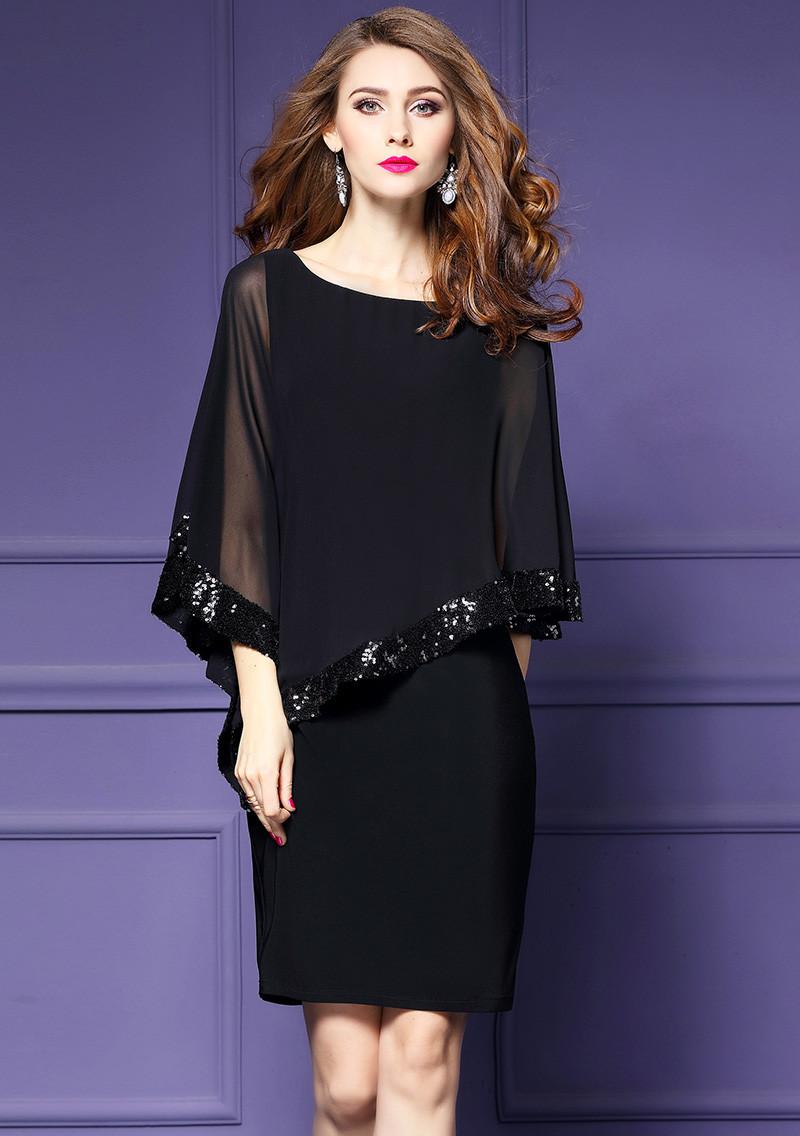 Women Elegant Cloak Sleeves Pencil Office Lady Dress 18 Vintage Chiffon Slim Work Office Business Party Bodycon Dress 3