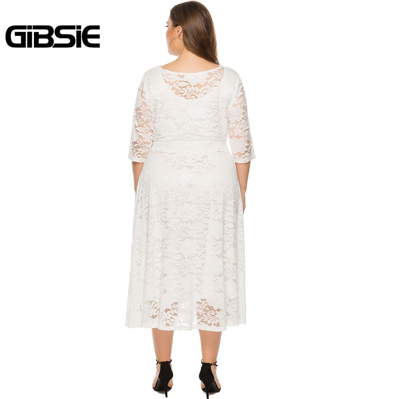 GIBSIE Plus Size Women Elegant O-Neck Half Sleeve Lace Dress Black White Evening Party Dresses Female Pocket A-line Long Dress 3