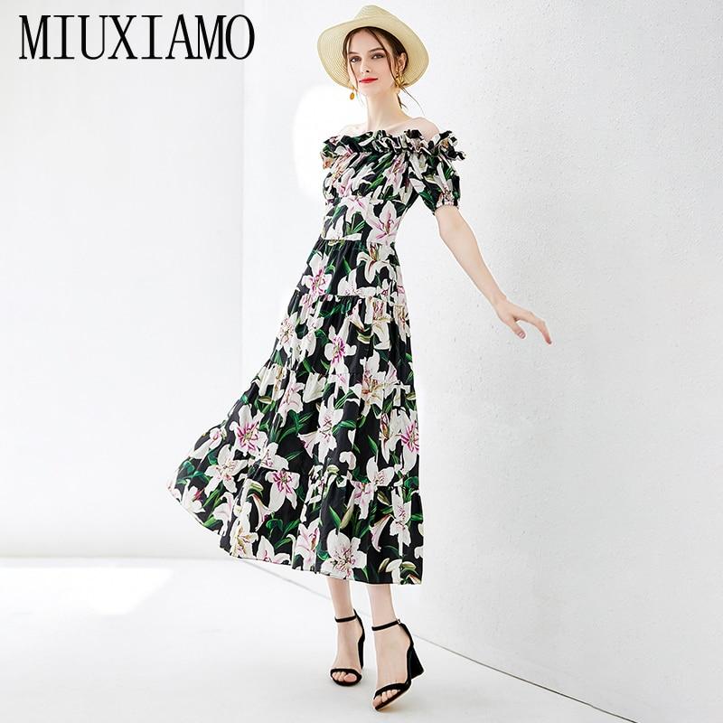 MIUXIMAO Top Quality 19 Fall Dress Lily Flower Ptint Half Sleeve Dress Ruffles Eleghant Cotton Casual Dress Women Vestidos 1