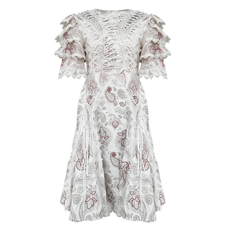 Future Time Autumn Printing White Dress Women 19 Long Beach Dress Bodycon Half Sleeve Round Collar A-Line Sexy Bandage Dress 3
