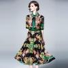 New 19 Runway Print Flowers Party Dress Summer Women Diamonds Bow Half Sleeve Vintage Dress Elegant Turn Down Collar Dress