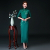 Oversize 4XL Autumn New Arrival Vintage Half Sleeve Embroidery Cheongsam Sexy Women Formal Long Dress Print Flower Satin Qipao