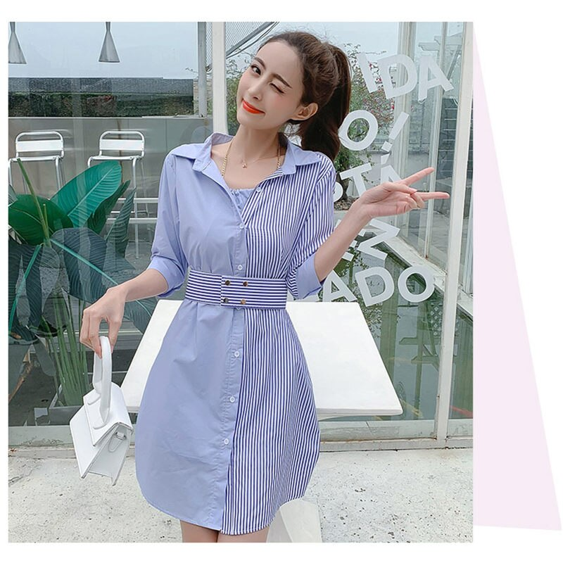 Stripe Patchwork Fashion Shirt Dress Women Summer Elbise New Dress Shirt V neck Half Sleeve Dresses Casual Korean Vestidos f359 3