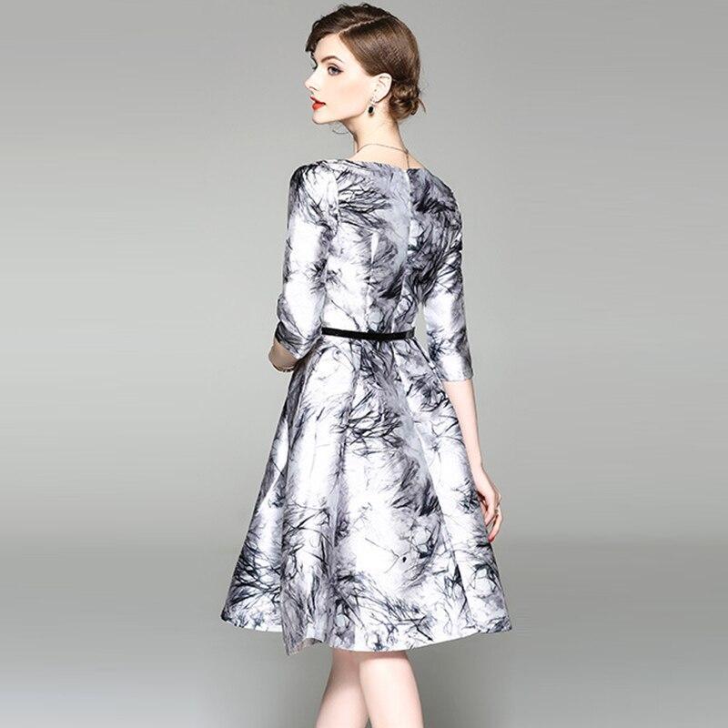 Chinese Style Print Floral Dresses Women Half Sleeve V-neck Big Swing A-Line Dress Ladies Spring Summer Slim Dress YP2246 2