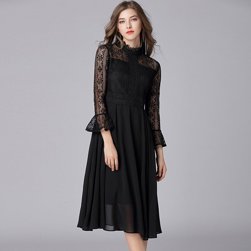 Queechalle L – 5XL Plus Size Chiffon Dress Women Hollow Out Flare Half Sleeve Floral Crochet Casual Lace Dress Femininas Vestido 2