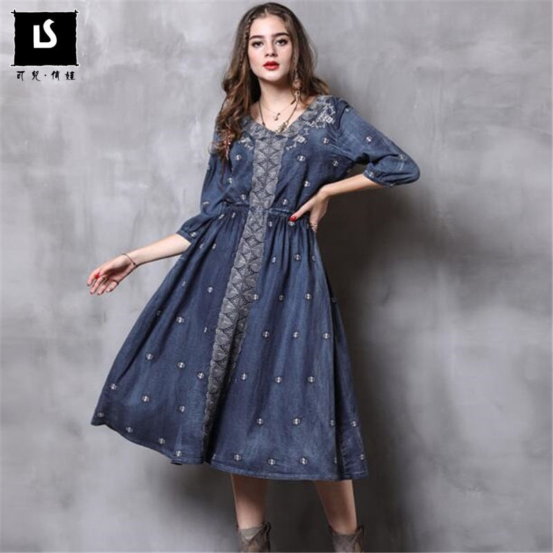 Women Dress Autumn New Vintage Denim Long Dresses V-Neck Half sleeve Embroidery A-line Casual Dress Vestido Vestidos Femininos 1