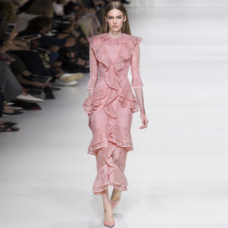 pink maxi lace dress o-neck ruffles half sleeve mulit-layer Fish tail dress ladies party dress fast shipping