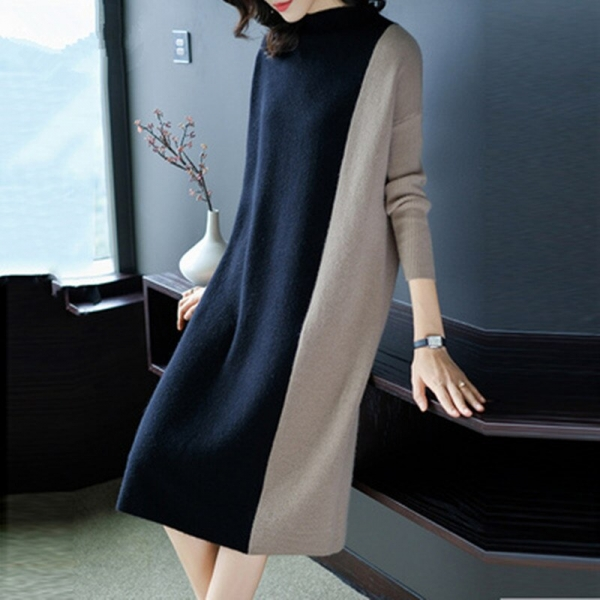 Europe Women 19 Autumn Winter Stitching Fashion Long Sleeve Dress Female Half Turtleneck Knee-Length Knitted Dress A1139