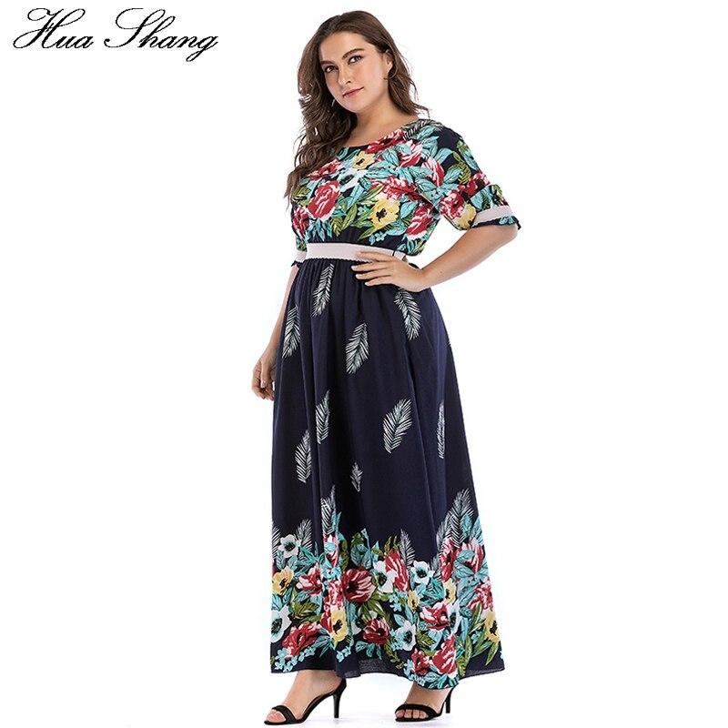 Floral Boho Dresses For Women Plus Size 5xl Summer O Neck Half Sleeve High Waist Long Chiffon Dress Tunic Casual Beach Dresses 3