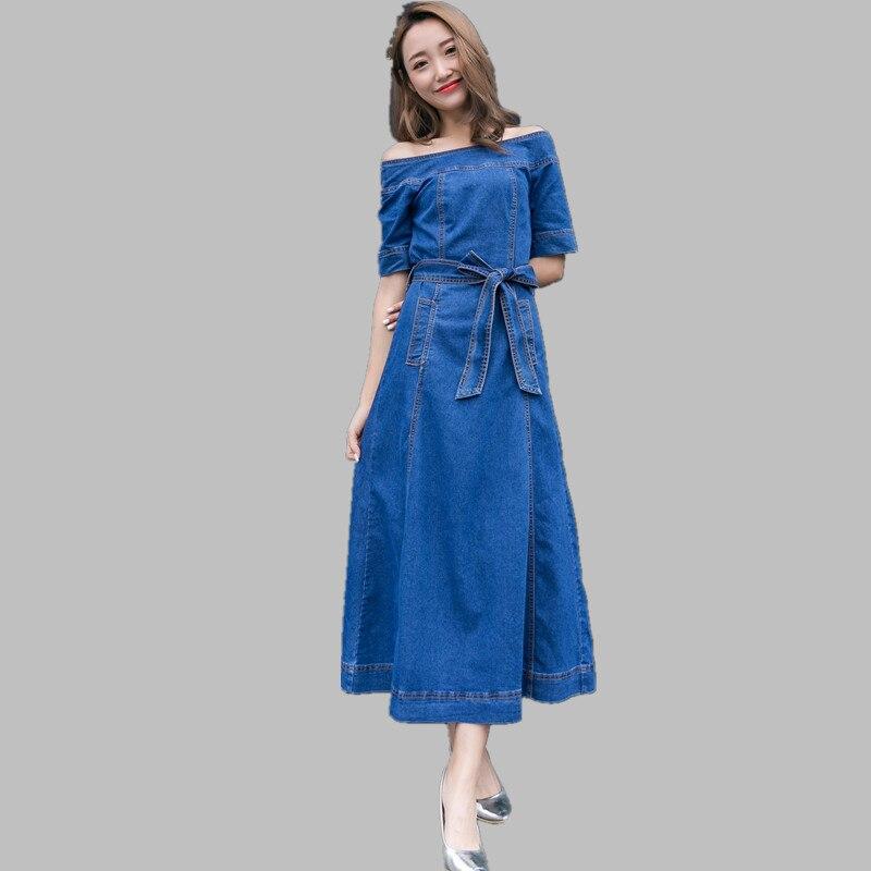 HAMALIEL Women Slash Neck Big Swing Cowboy Dress Summer Off Shoulder Denim Half Sleeve Long Dress Fashion Lace UP Maxi Vestidos
