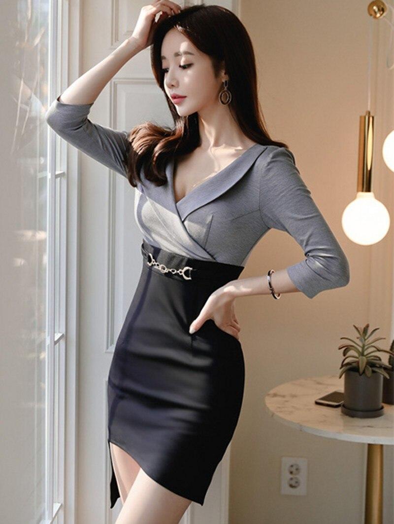 19 Korean version of the new OL temperament V-neck Slim thin bag hip irregular half sleeve women's dress 3