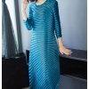 HOT SELLING Miyake fashion solid fold o-neck half sleeve Asymmetrical dresses IN STOCK