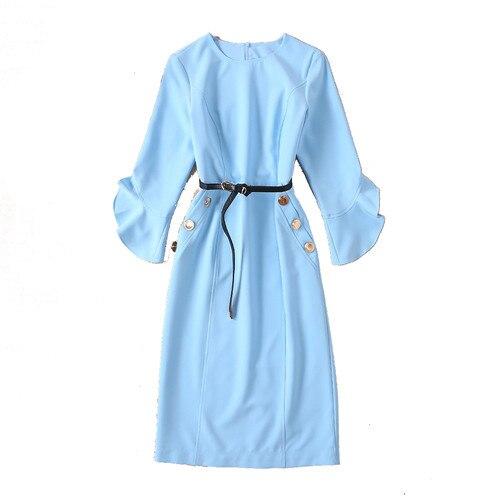 Spring Dress Women Designer Dresses Runway 19 High Quality Fashion Luxury Solid Sky Blue Half Sleeve Pencil Dress Robe Femme 3
